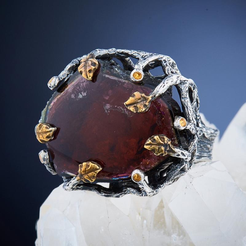 Кольцо турмалин  (серебро 925 пр., позолота, чернение) размер 18,5