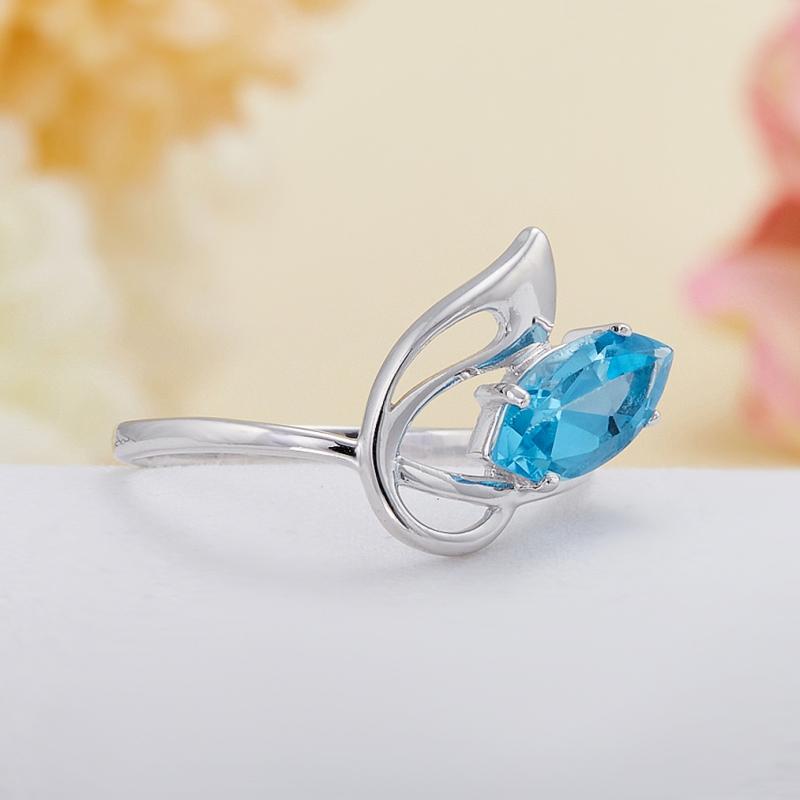 Кольцо топаз (голубой, Swiss)  огранка (серебро 925 пр.) размер 17,5 от Mineralmarket