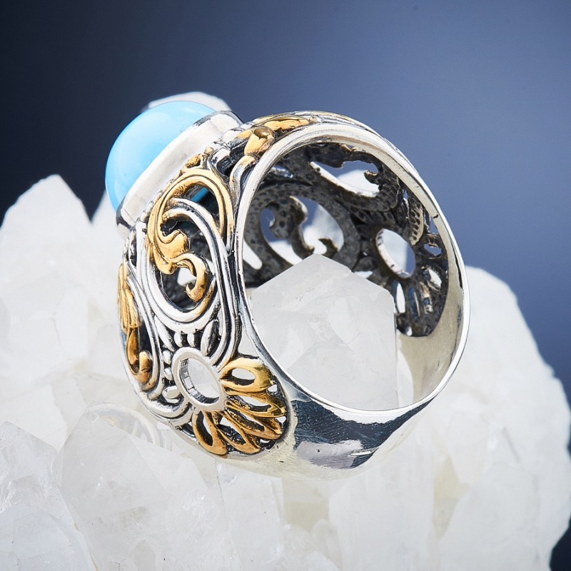Кольцо бирюза Казахстан (серебро 925 пр., позолота, чернение) размер 17,5