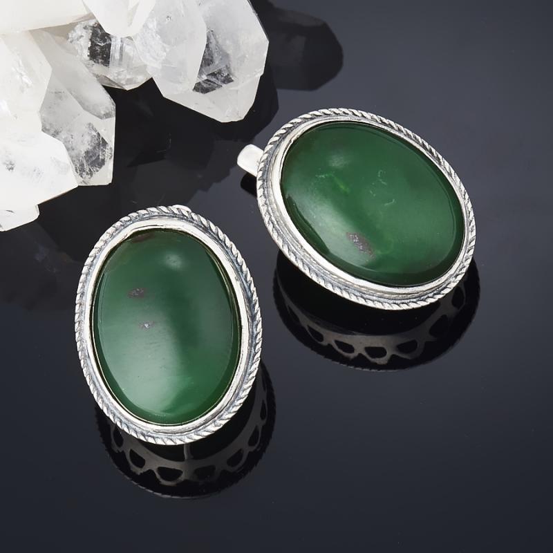 Серьги нефрит  (серебро 925 пр.) серьги авантюрин зеленый серебро 925 пр