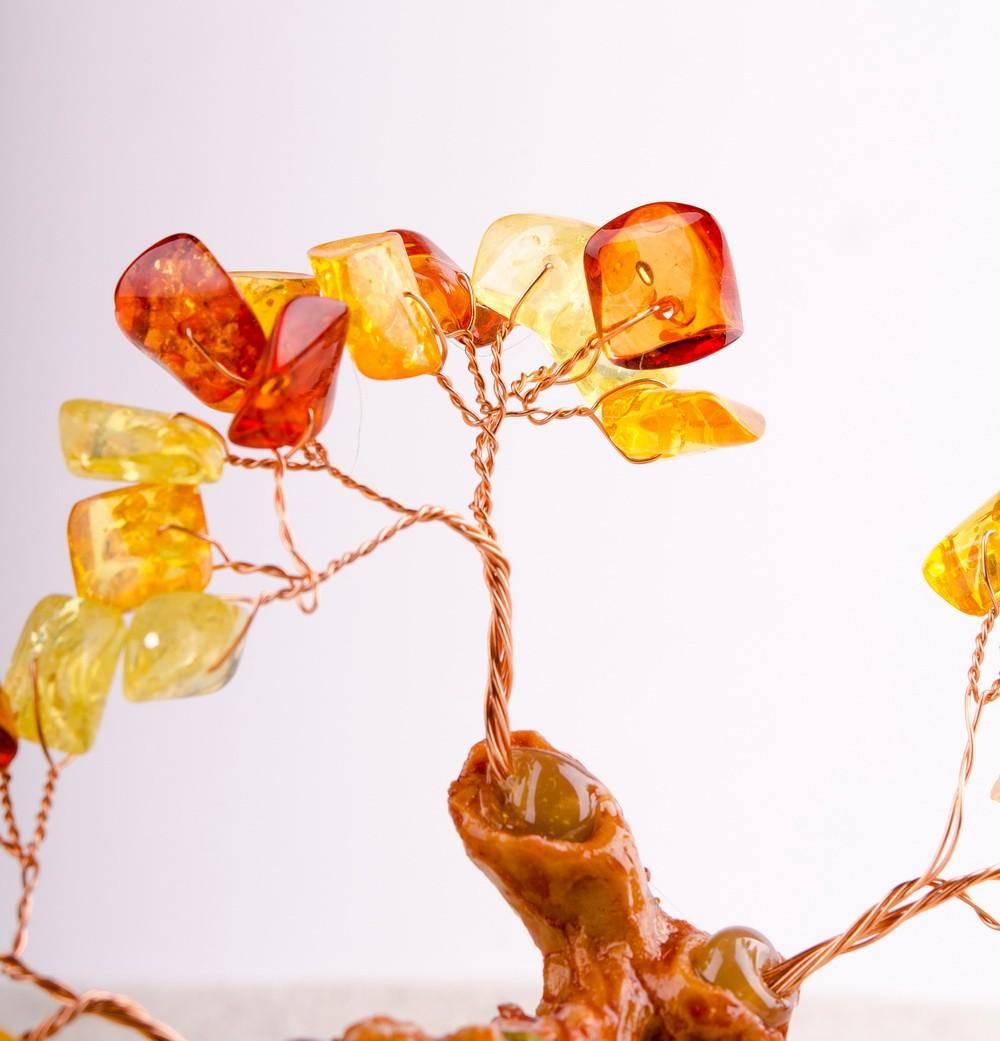 Дерево счастья с синтетическим Янтарем 13 см