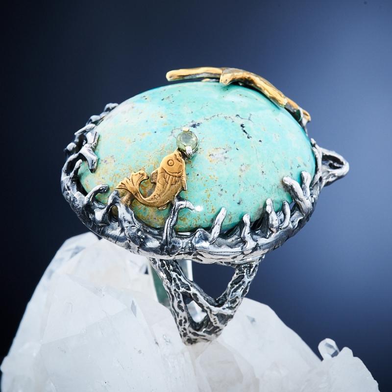 Кольцо бирюза Тибет (Китай) (серебро 925 пр., позолота, чернение) размер 18,5