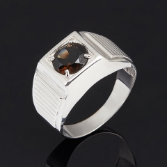 Кольцо раухтопаз Бразилия огранка (серебро 925 пр.) размер 18,5