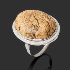 Кольцо яшма рисунчатая (песочная) Намибия (серебро 925 пр. родир. бел.) размер 18,5