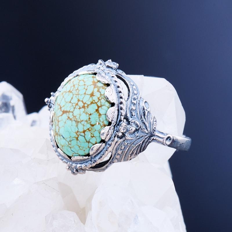 Кольцо бирюза  (серебро 925 пр.)  размер 18
