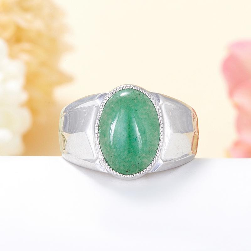 Кольцо авантюрин зеленый  (серебро 925 пр.) размер 19,5