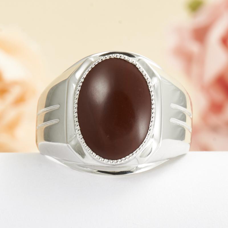 Кольцо яшма красная (серебро 925 пр.) размер 19