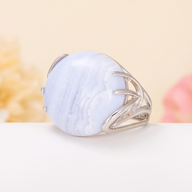 Кольцо агат голубой  (серебро 925 пр.) размер 18,5
