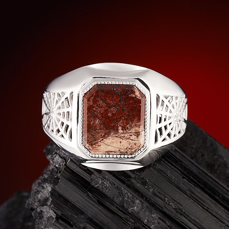 Кольцо яшма брекчиевая  огранка (серебро 925 пр.) размер 22