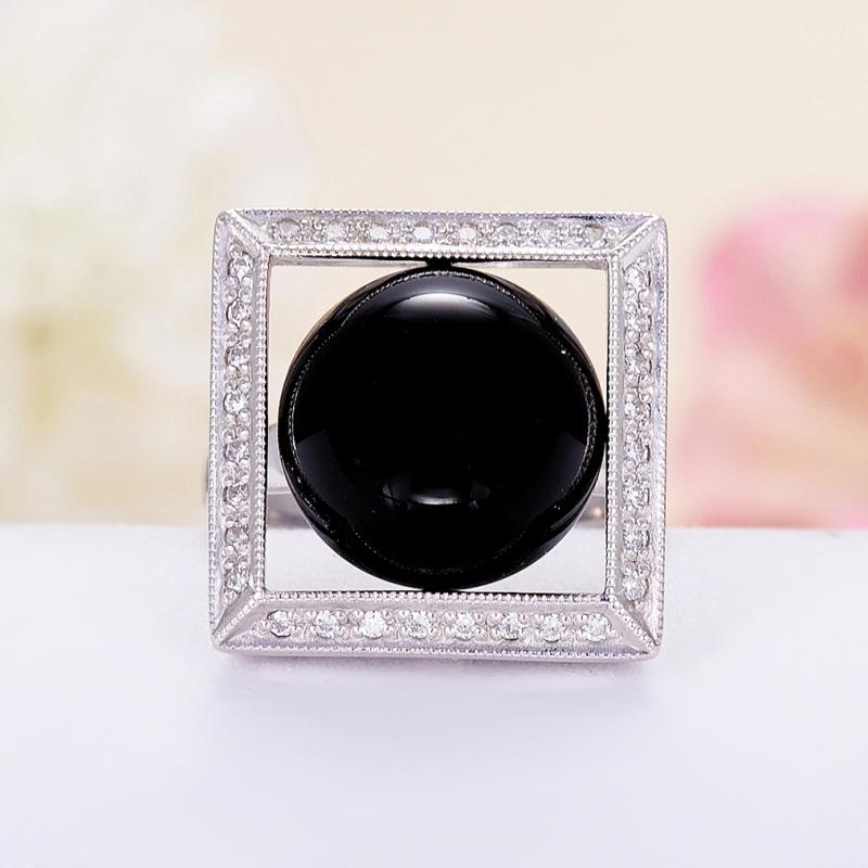 Кольцо агат черный  (серебро 925 пр.) размер 18,5