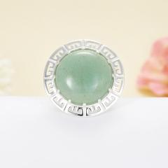Кольцо авантюрин зеленый Зимбабве (серебро 925 пр.)  размер 18