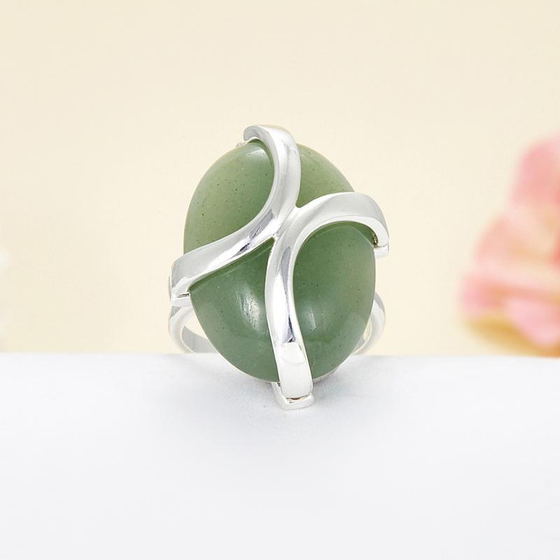 Кольцо авантюрин зеленый  (серебро 925 пр.)  размер 17,5 браслет авантюрин зеленый 8 мм 17 cм