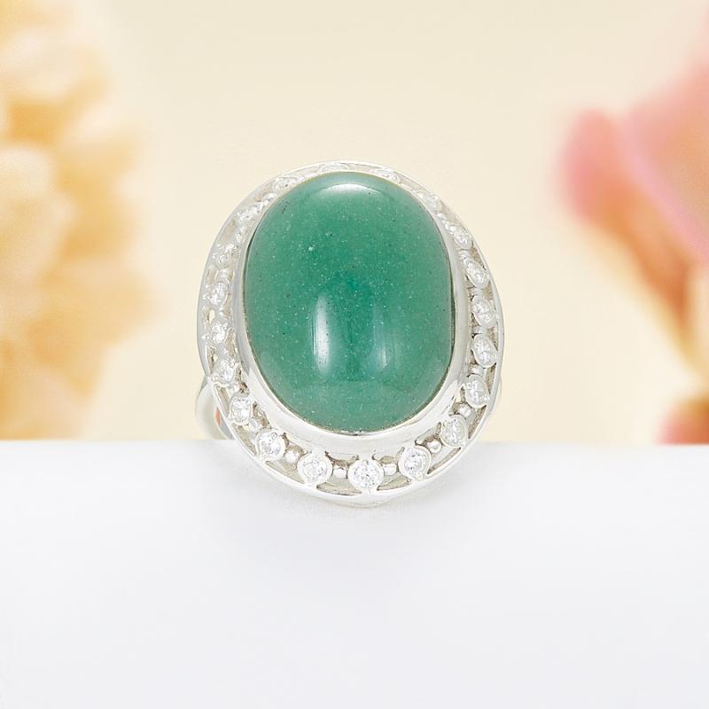 Кольцо авантюрин зеленый  (серебро 925 пр.)  размер 18,5