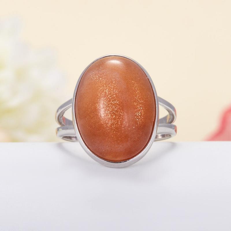 Кольцо солнечный камень Индия (серебро 925 пр.) размер 20