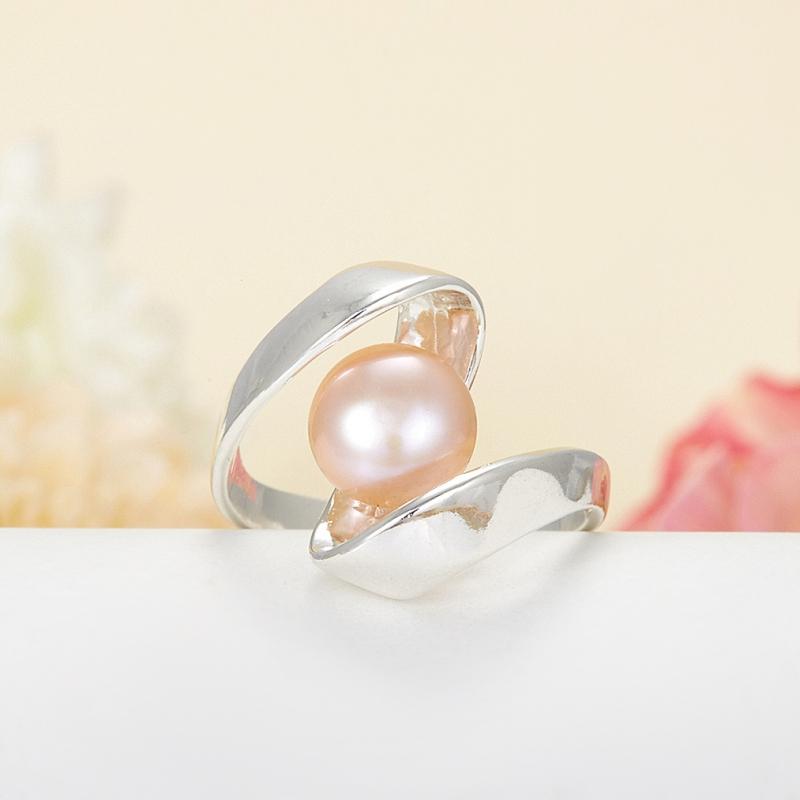 Кольцо жемчуг персиковый  (серебро 925 пр.)  размер 18,5