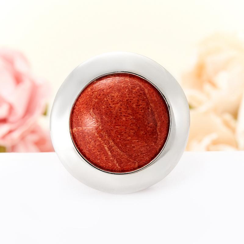 Кольцо коралл красный  (серебро 925 пр.)  размер 19,5