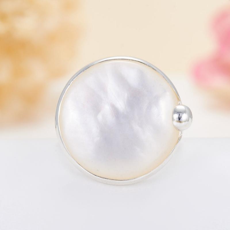 Кольцо перламутр  (серебро 925 пр.)  размер 18