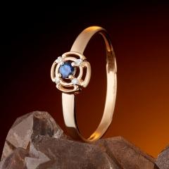 Кольцо сапфир Индия огранка (золото 585 пр.) размер 16,5