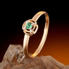 Кольцо изумруд Бразилия огранка (золото 585 пр.) размер 16