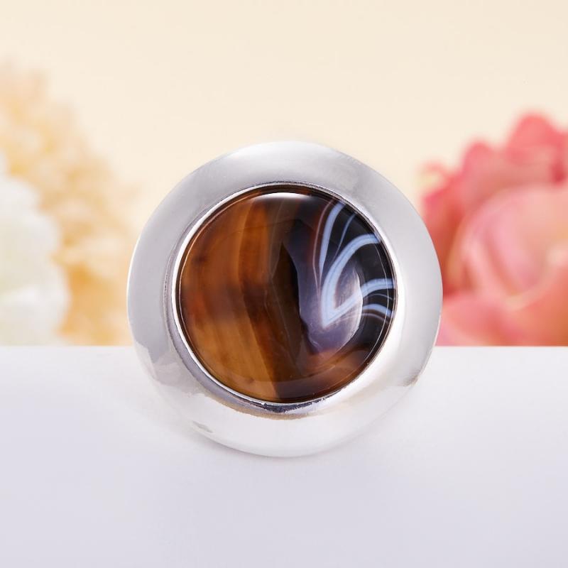Кольцо агат черный полосатый  (серебро 925 пр.)  размер 18,5