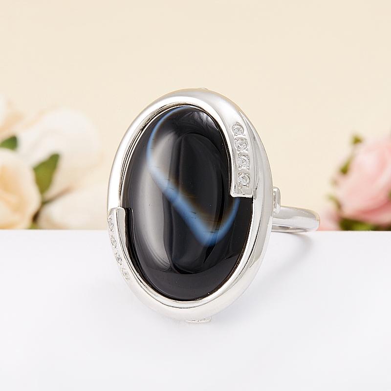 Кольцо агат черный полосатый  (серебро 925 пр.)  размер 19