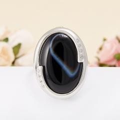 Кольцо агат черный полосатый Бразилия (серебро 925 пр.)  размер 19