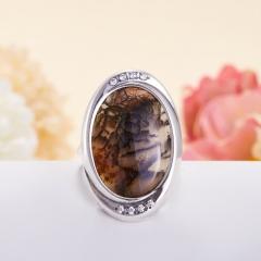 Кольцо агат моховой Индия (серебро 925 пр.)  размер 18,5