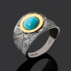 Кольцо бирюза Тибет (серебро 925 пр. позолота рутений) размер 18