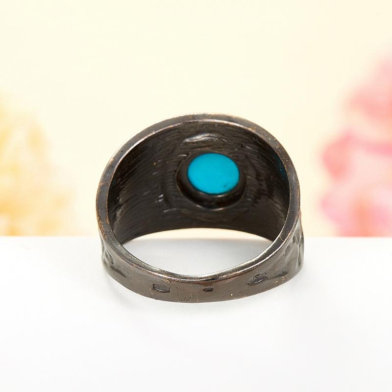 Кольцо бирюза Тибет (серебро 925 пр., позолота, чернение) размер 18,5