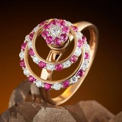 Кольцо рубин Индия огранка (золото 585 пр.) размер 17
