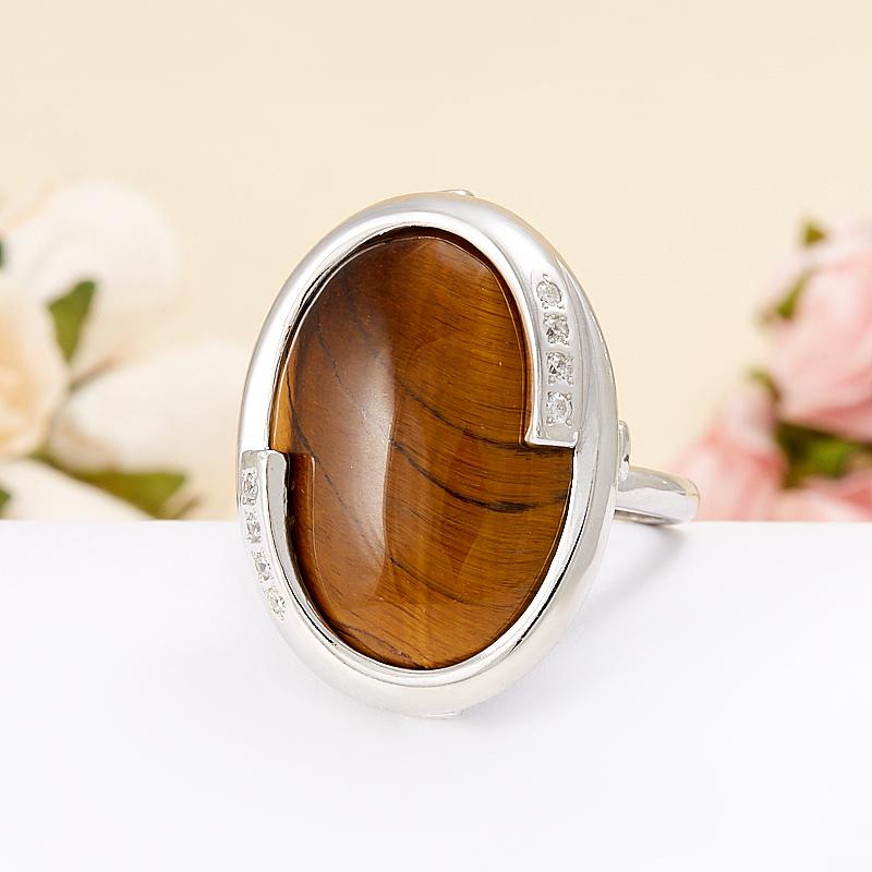 Кольцо тигровый глаз  (серебро 925 пр.)  размер 19,5