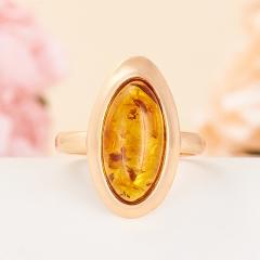 Кольцо янтарь (пресс) Россия (серебро 925 пр., позолота) размер 16