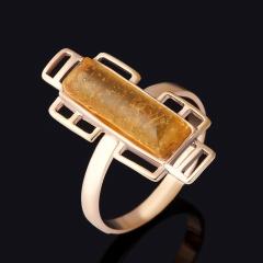 Кольцо янтарь Россия (серебро 925 пр., позолота) размер 18,5