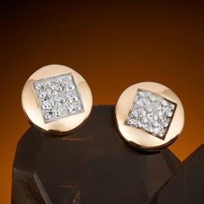 Серьги (пуссеты) бриллиант Россия огранка (золото 585 пр.)