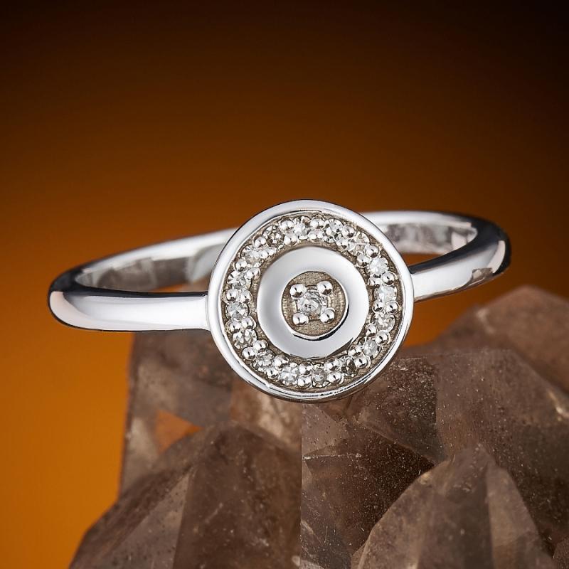 Кольцо бриллиант Россия огранка (белое золото 585 пр.) размер 18