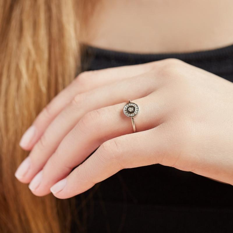 Кольцо бриллиант Россия огранка (белое золото 585 пр.) размер 15,5