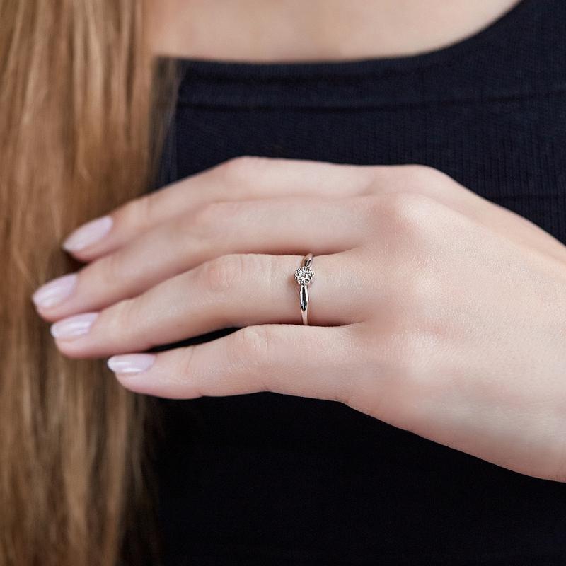 Кольцо бриллиант Россия огранка (белое золото 585 пр.) размер 19,5