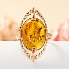 Кольцо янтарь пресс Россия (серебро 925 пр., позолота) размер 17,5
