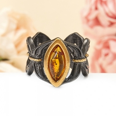Кольцо янтарь Россия (серебро 925 пр., позолота, чернение) размер 16,5