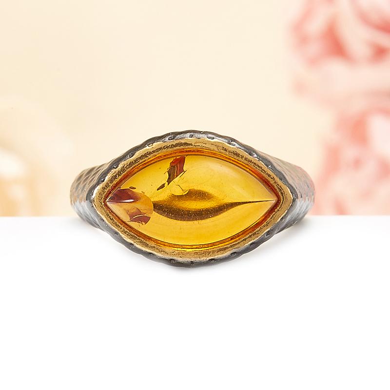 Кольцо янтарь  (серебро 925 пр., позолота) размер 17,5 кольцо янтарь серебро 925 пр размер 21
