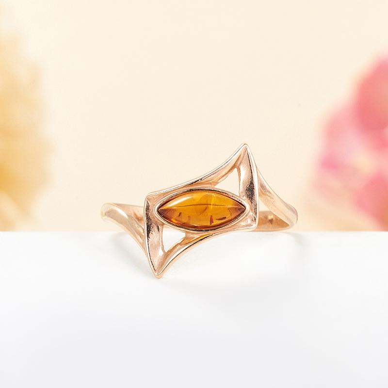 Кольцо янтарь  (серебро 925 пр., позолота) размер 16 кольцо янтарь серебро 925 пр размер 20 5