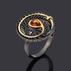 Кольцо янтарь Россия (серебро 925 пр. родир. черн. позолота) размер 17,5