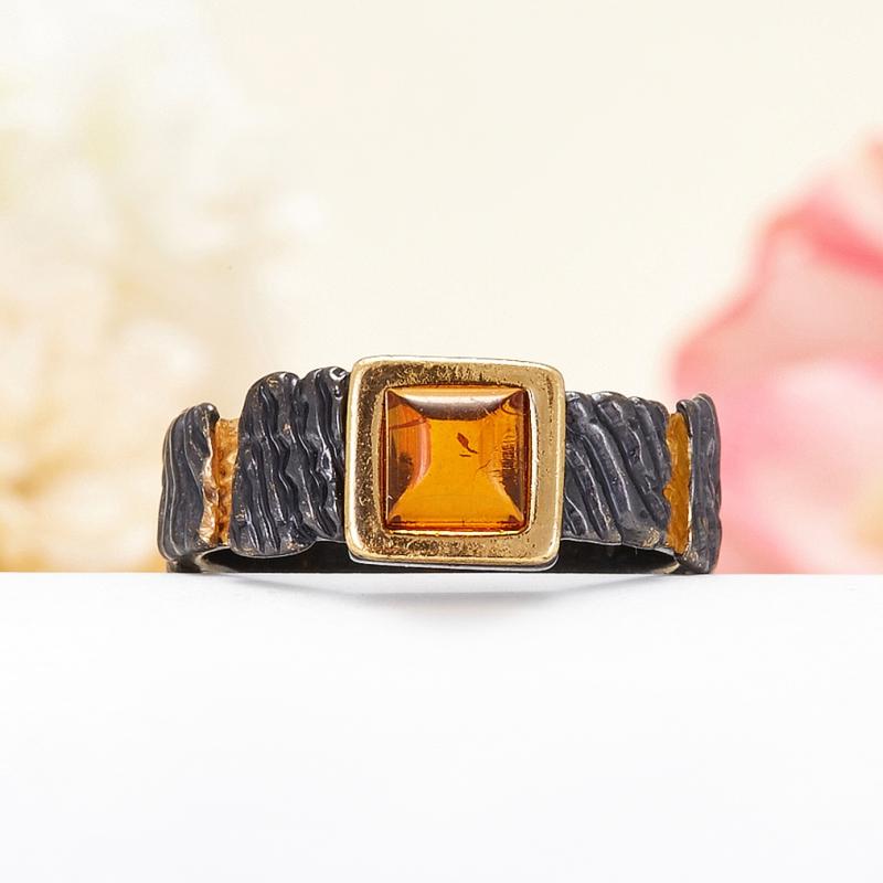 Кольцо янтарь  (серебро 925 пр., позолота, чернение) размер 16 кольцо янтарь серебро 925 пр позолота размер 16