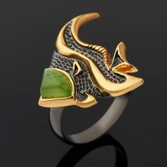 Кольцо нефрит Россия (серебро 925 пр., позолота, чернение) размер 18,5