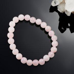 Браслет розовый кварц Намибия 8 мм 17 cм