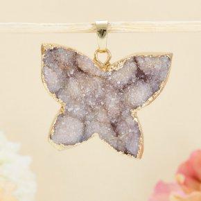 Кулон-щетка бабочка кварц Бразилия 3-4 см