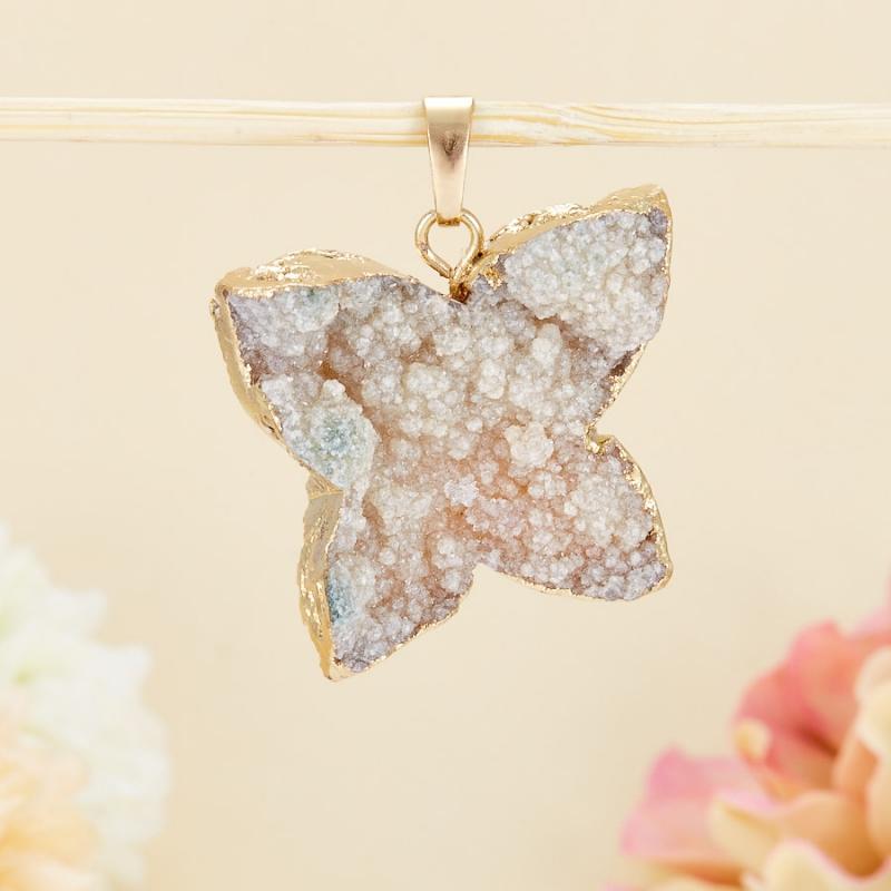 Кулон щетка бабочка кварц 3-4 см