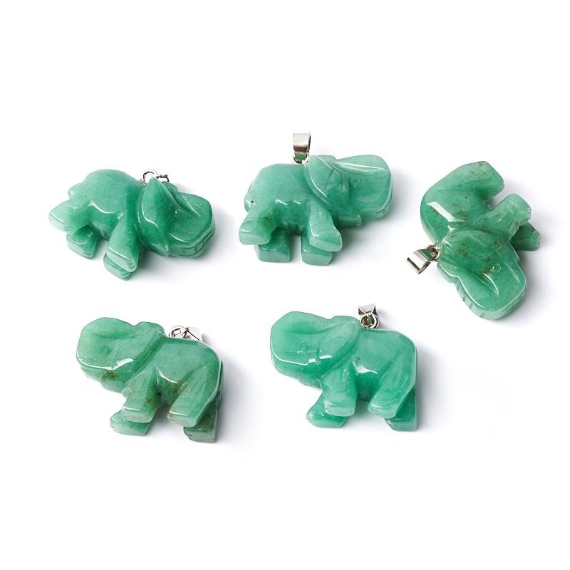 Кулон слон авантюрин зеленый 3,5 см