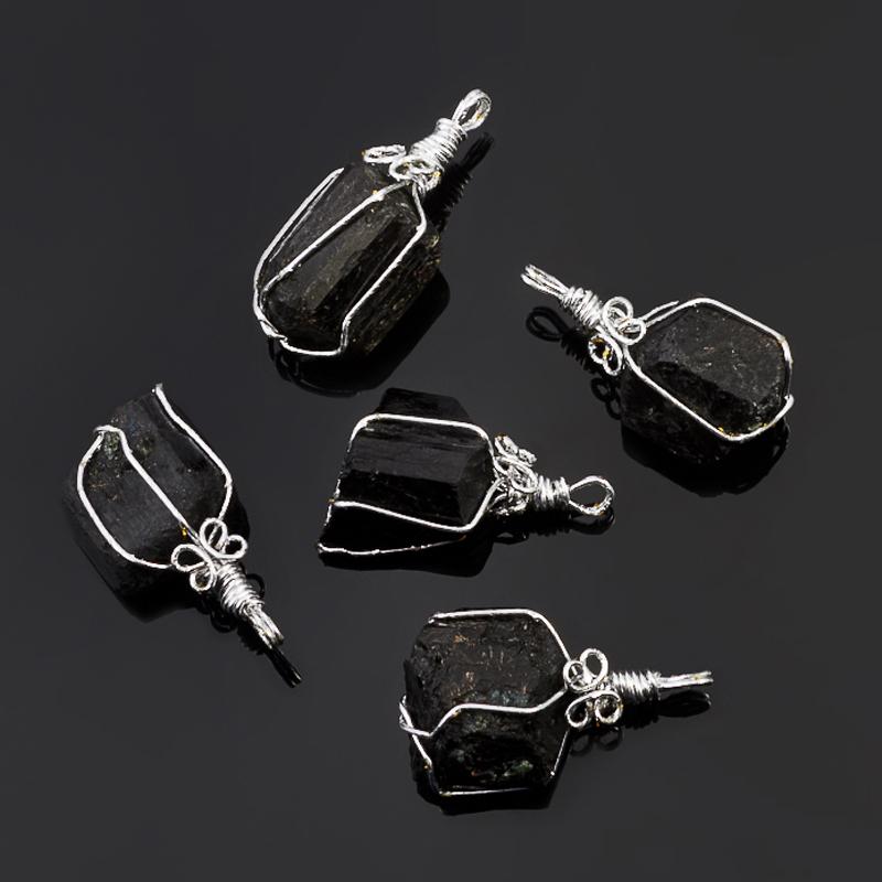 Кулон кристалл турмалин черный (шерл) 3,5-4 см
