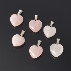 Кулон розовый кварц Бразилия (биж. сплав) сердечко 2-2,5 см
